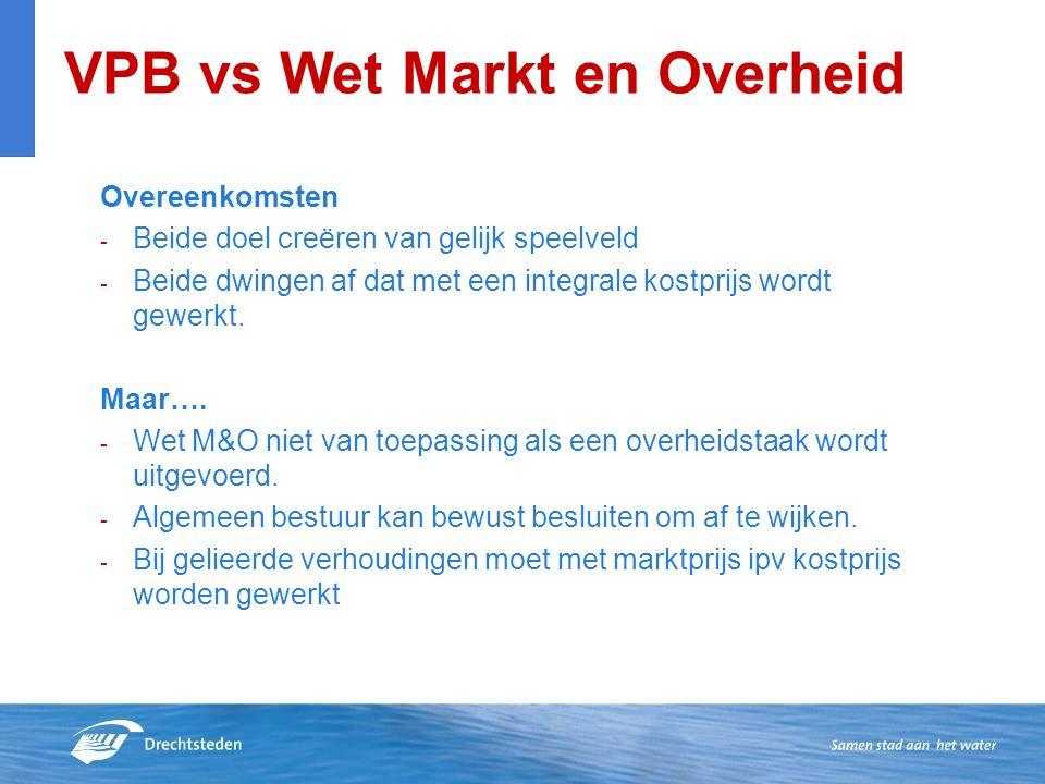 VPB vs Wet Markt en Overheid Overeenkomsten - Beide doel creëren van gelijk speelveld - Beide dwingen af dat met een integrale kostprijs wordt gewerkt.