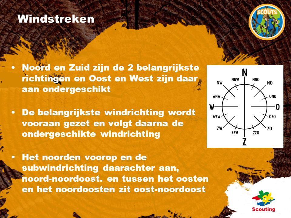 Windstreken Noord en Zuid zijn de 2 belangrijkste richtingen en Oost en West zijn daar aan ondergeschikt De belangrijkste windrichting wordt vooraan gezet en volgt daarna de ondergeschikte windrichting Het noorden voorop en de subwindrichting daarachter aan, noord-noordoost.