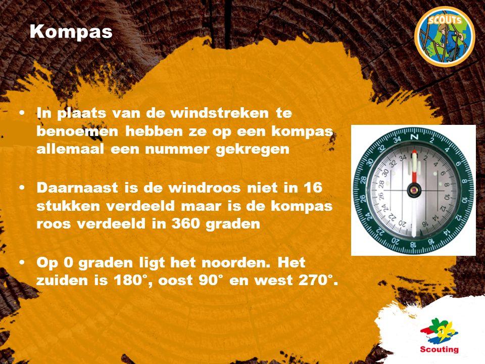 Kompas In plaats van de windstreken te benoemen hebben ze op een kompas allemaal een nummer gekregen Daarnaast is de windroos niet in 16 stukken verdeeld maar is de kompas roos verdeeld in 360 graden Op 0 graden ligt het noorden.