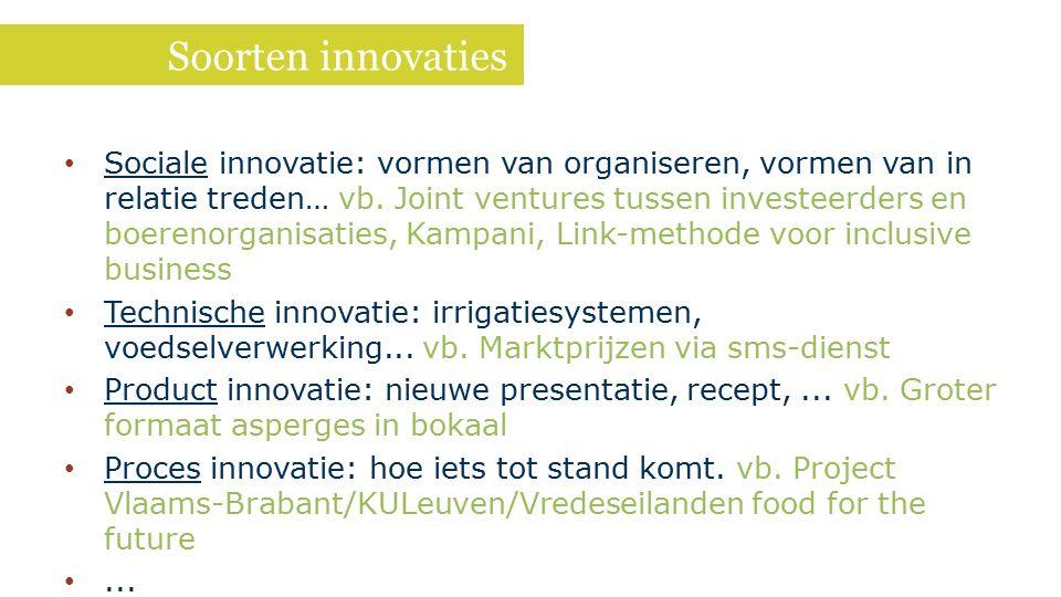 Soorten innovaties Sociale innovatie: vormen van organiseren, vormen van in relatie treden… vb. Joint ventures tussen investeerders en boerenorganisat