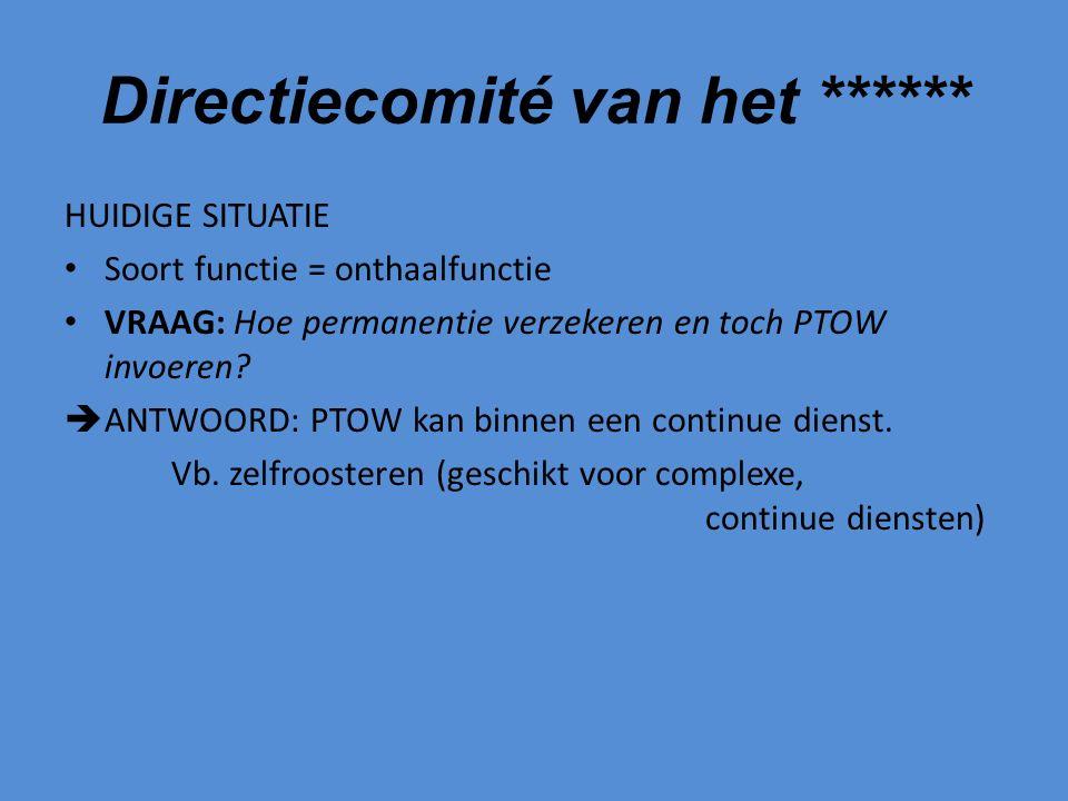 Directiecomité van het ****** HUIDIGE SITUATIE Soort functie = onthaalfunctie VRAAG: Hoe permanentie verzekeren en toch PTOW invoeren.