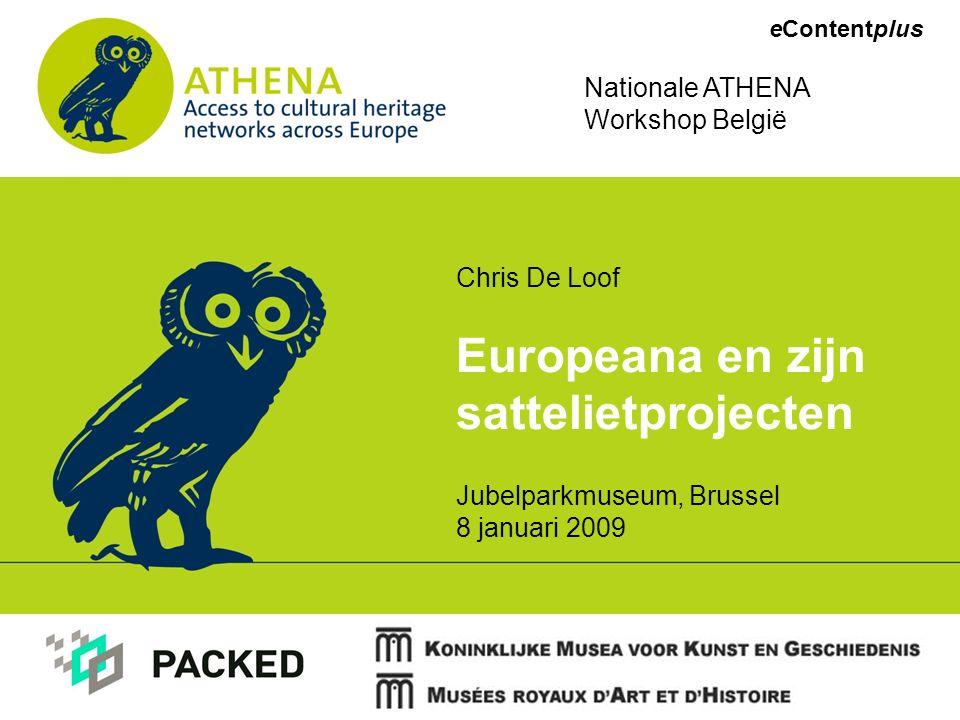 Werking Europeana V1 Protocollen liggen nog niet vast –Pushtechnologie : contentproviders sturen data naar Europeana –Pull technologie : internetrobots schuimen de databanken van de contentproviders af op zoek naar nieuwe/up2date data (harvesting) Belangrijke vergadering in Den Haag op 13-14/01/09