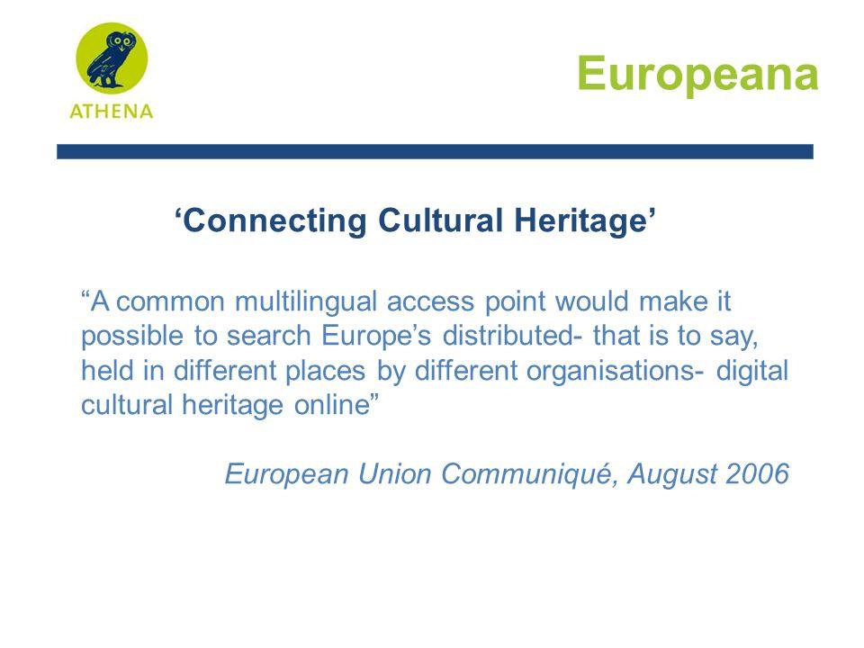Werking Europeana V1 Huidige minimale beschrijvende metadata : dublin core + 2 bijkomende elementen = Europeana Semantic Elements (ESE)