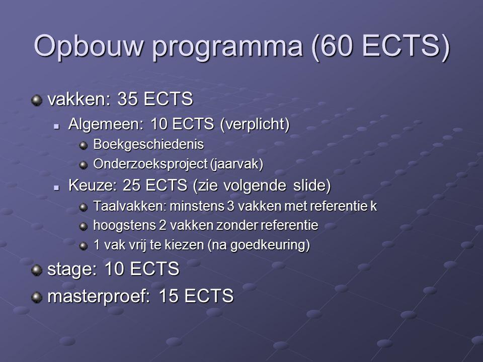 Opbouw programma (60 ECTS) vakken: 35 ECTS Algemeen: 10 ECTS (verplicht) Algemeen: 10 ECTS (verplicht) Boekgeschiedenis Boekgeschiedenis Onderzoeksproject (jaarvak) Onderzoeksproject (jaarvak) Keuze: 25 ECTS (zie volgende slide) Keuze: 25 ECTS (zie volgende slide) Taalvakken: minstens 3 vakken met referentie k Taalvakken: minstens 3 vakken met referentie k hoogstens 2 vakken zonder referentie hoogstens 2 vakken zonder referentie 1 vak vrij te kiezen (na goedkeuring) 1 vak vrij te kiezen (na goedkeuring) stage: 10 ECTS masterproef: 15 ECTS
