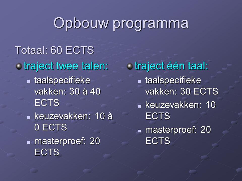 Opbouw programma Totaal: 60 ECTS traject twee talen: taalspecifieke vakken: 30 à 40 ECTS taalspecifieke vakken: 30 à 40 ECTS keuzevakken: 10 à 0 ECTS keuzevakken: 10 à 0 ECTS masterproef: 20 ECTS masterproef: 20 ECTS traject één taal: taalspecifieke vakken: 30 ECTS keuzevakken: 10 ECTS masterproef: 20 ECTS