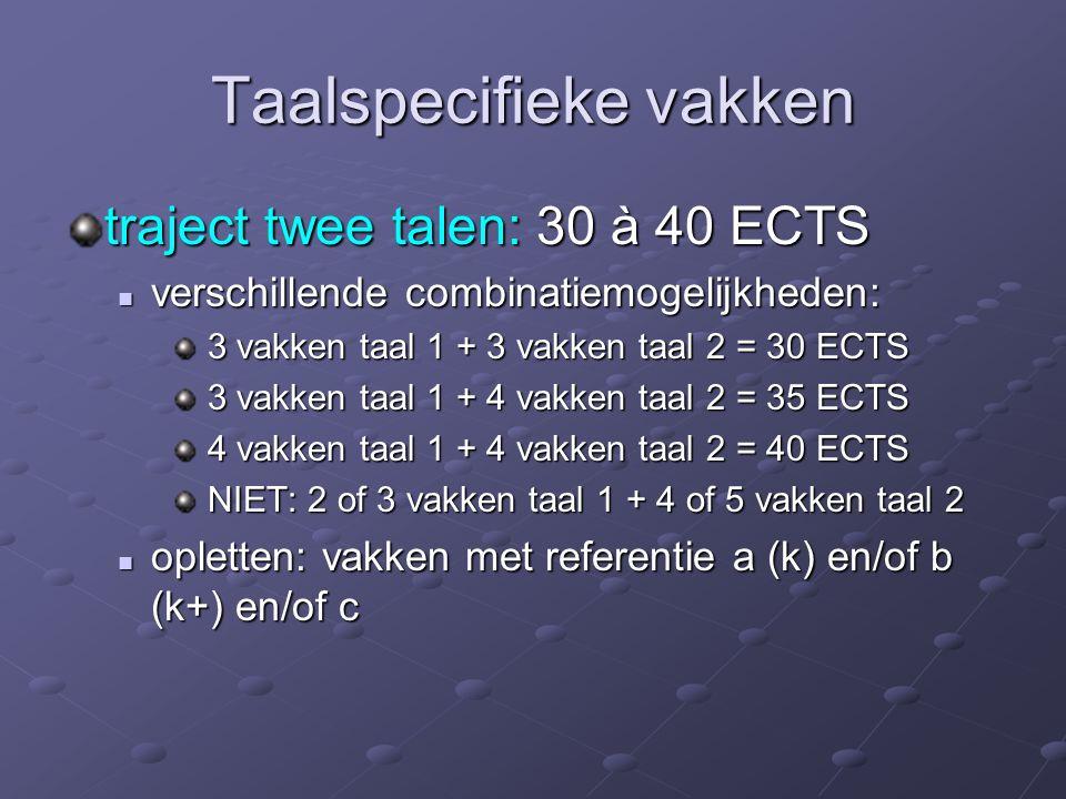 Taalspecifieke vakken traject twee talen: 30 à 40 ECTS verschillende combinatiemogelijkheden: verschillende combinatiemogelijkheden: 3 vakken taal 1 + 3 vakken taal 2 = 30 ECTS 3 vakken taal 1 + 3 vakken taal 2 = 30 ECTS 3 vakken taal 1 + 4 vakken taal 2 = 35 ECTS 3 vakken taal 1 + 4 vakken taal 2 = 35 ECTS 4 vakken taal 1 + 4 vakken taal 2 = 40 ECTS 4 vakken taal 1 + 4 vakken taal 2 = 40 ECTS NIET: 2 of 3 vakken taal 1 + 4 of 5 vakken taal 2 NIET: 2 of 3 vakken taal 1 + 4 of 5 vakken taal 2 opletten: vakken met referentie a (k) en/of b (k+) en/of c opletten: vakken met referentie a (k) en/of b (k+) en/of c