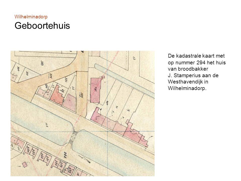 Wilhelminadorp Geboortehuis De kadastrale kaart met op nummer 294 het huis van broodbakker J.