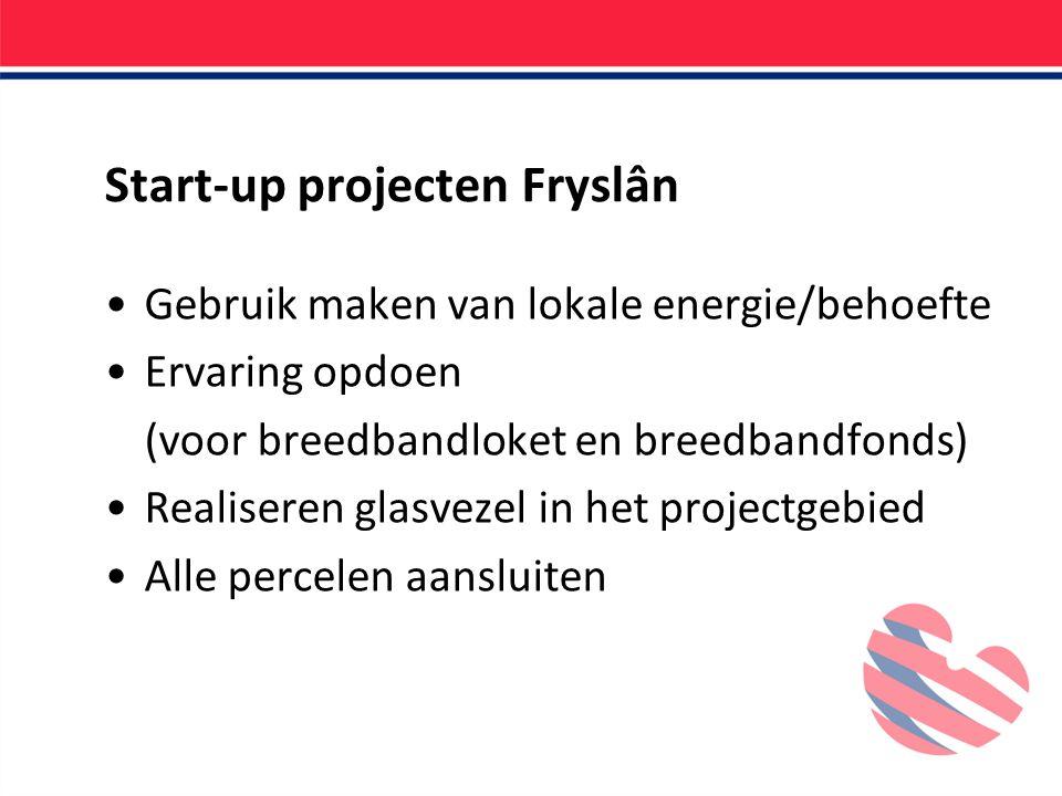 Start-up projecten Fryslân Gebruik maken van lokale energie/behoefte Ervaring opdoen (voor breedbandloket en breedbandfonds) Realiseren glasvezel in het projectgebied Alle percelen aansluiten