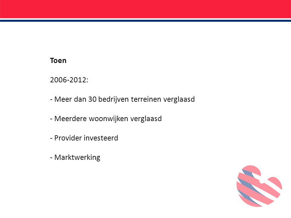 Toen 2006-2012: - Meer dan 30 bedrijven terreinen verglaasd - Meerdere woonwijken verglaasd - Provider investeerd - Marktwerking