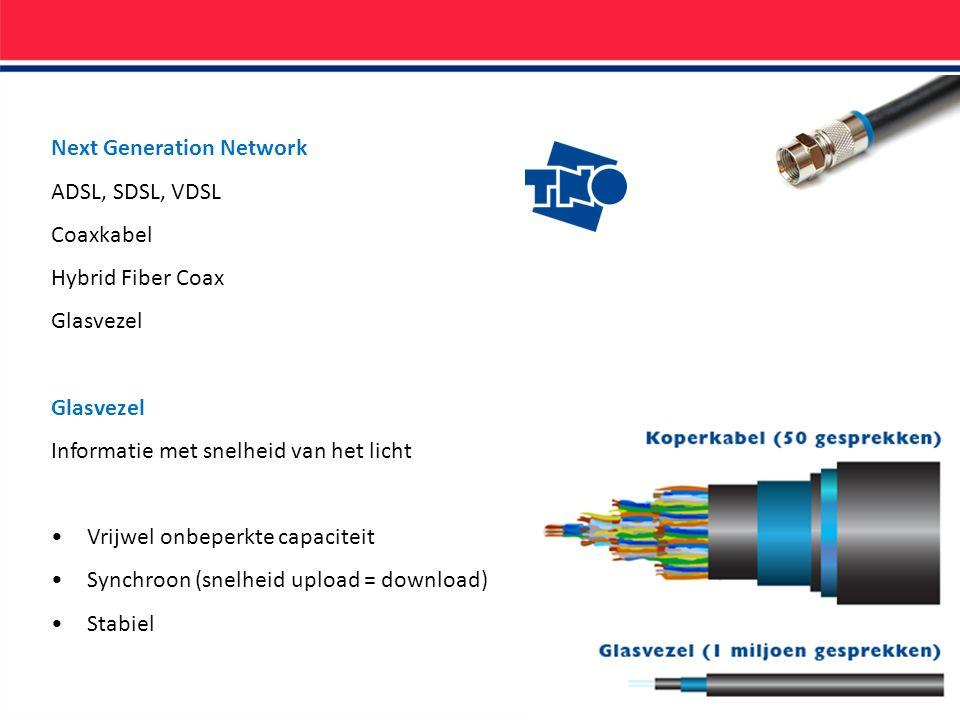 Next Generation Network ADSL, SDSL, VDSL Coaxkabel Hybrid Fiber Coax Glasvezel Informatie met snelheid van het licht Vrijwel onbeperkte capaciteit Synchroon (snelheid upload = download) Stabiel