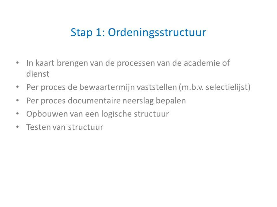 Stap 1: Ordeningsstructuur In kaart brengen van de processen van de academie of dienst Per proces de bewaartermijn vaststellen (m.b.v.