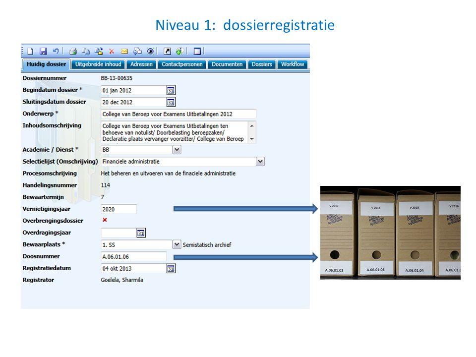 Niveau 1: dossierregistratie
