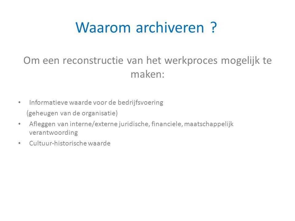 Om een reconstructie van het werkproces mogelijk te maken: Waarom archiveren .