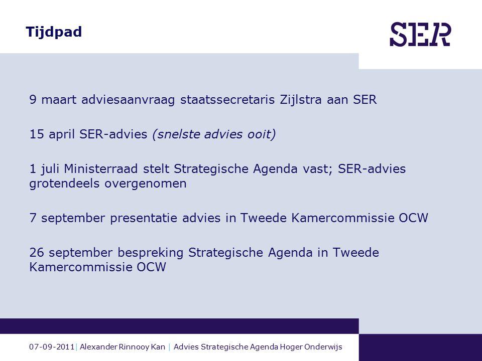 07-09-2011| Alexander Rinnooy Kan | Advies Strategische Agenda Hoger Onderwijs Tijdpad 9 maart adviesaanvraag staatssecretaris Zijlstra aan SER 15 apr