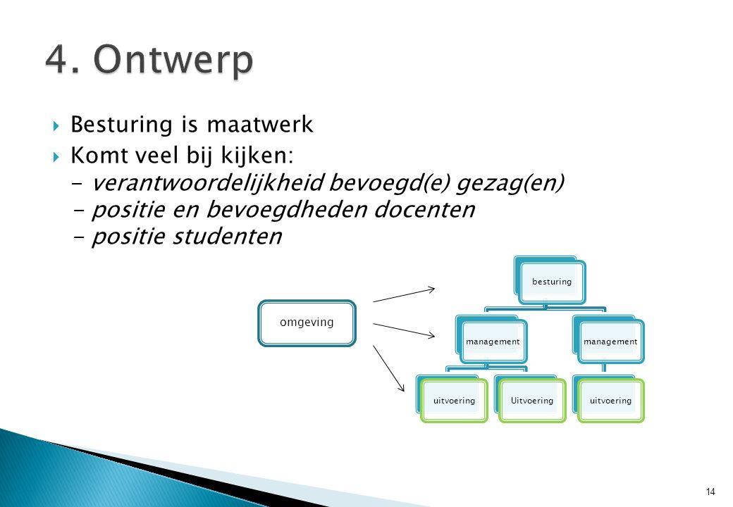  Besturing is maatwerk  Komt veel bij kijken: - verantwoordelijkheid bevoegd(e) gezag(en) - positie en bevoegdheden docenten - positie studenten 14