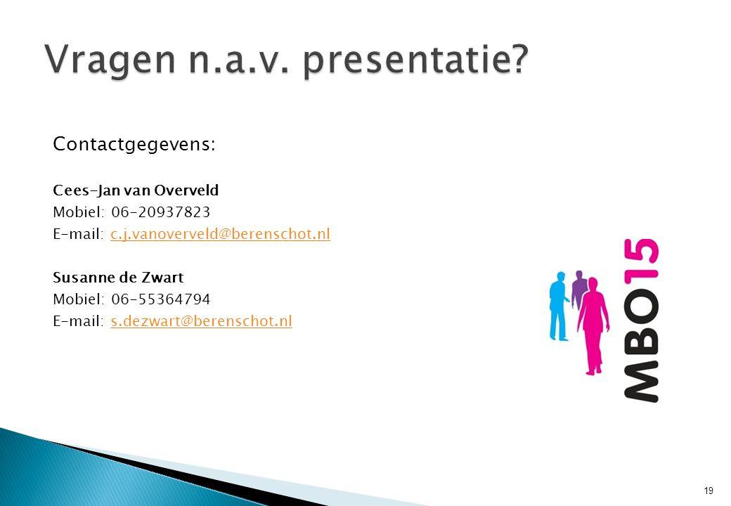 Contactgegevens: Cees-Jan van Overveld Mobiel: 06-20937823 E-mail: c.j.vanoverveld@berenschot.nlc.j.vanoverveld@berenschot.nl Susanne de Zwart Mobiel: