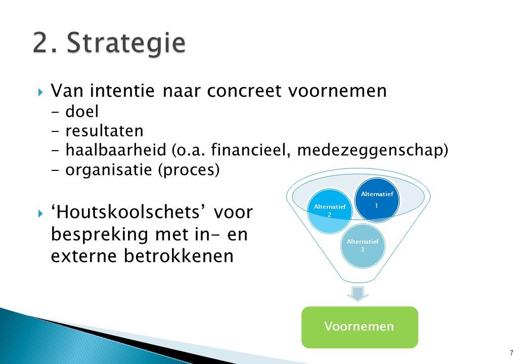  Van intentie naar concreet voornemen - doel - resultaten - haalbaarheid (o.a. financieel, medezeggenschap) - organisatie (proces)  'Houtskoolschets