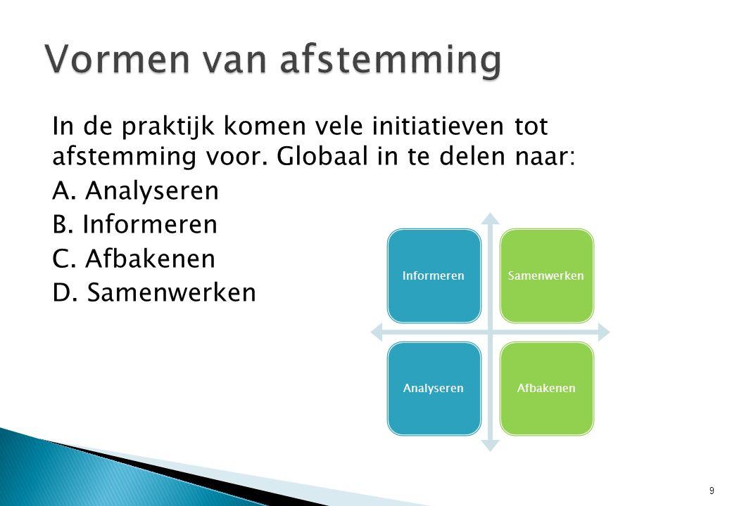 In de praktijk komen vele initiatieven tot afstemming voor. Globaal in te delen naar: A. Analyseren B. Informeren C. Afbakenen D. Samenwerken 9 Inform