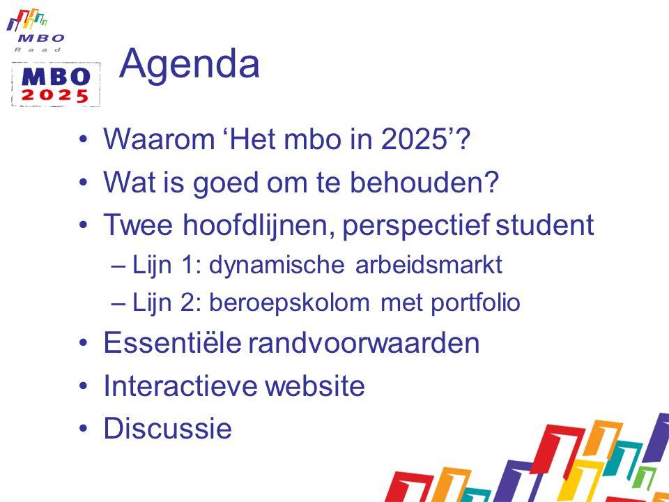 Agenda Waarom 'Het mbo in 2025'. Wat is goed om te behouden.