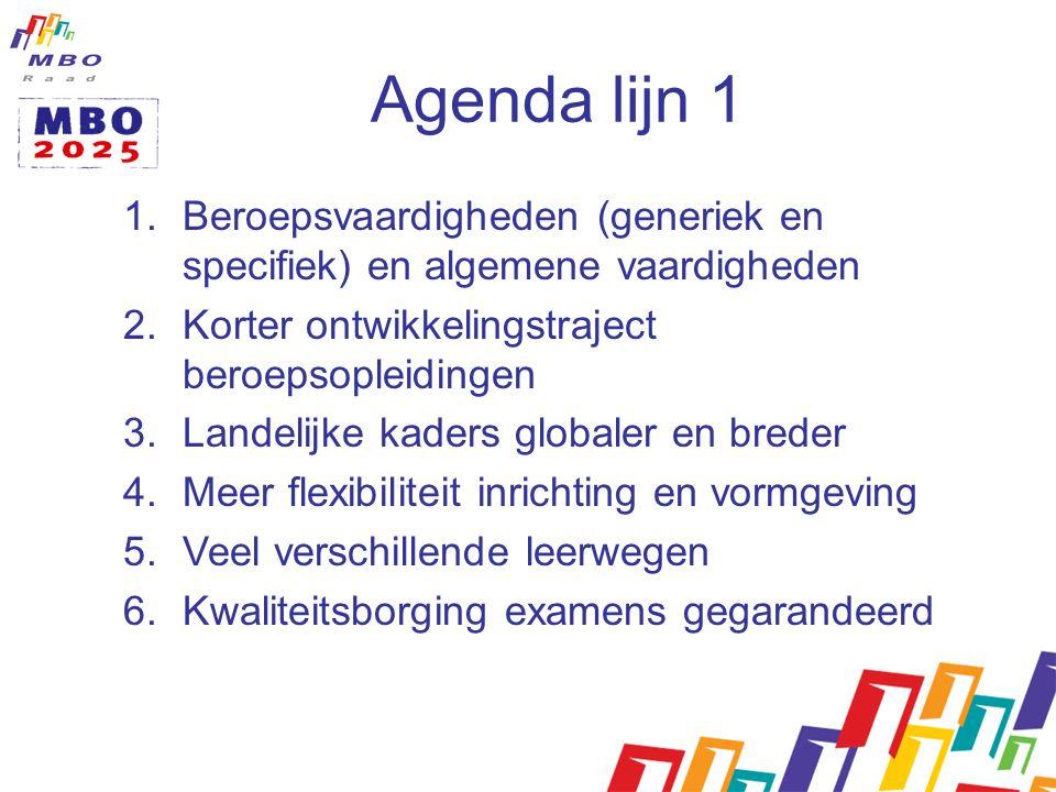 Agenda lijn 1 1.Beroepsvaardigheden (generiek en specifiek) en algemene vaardigheden 2.Korter ontwikkelingstraject beroepsopleidingen 3.Landelijke kaders globaler en breder 4.Meer flexibiliteit inrichting en vormgeving 5.Veel verschillende leerwegen 6.Kwaliteitsborging examens gegarandeerd