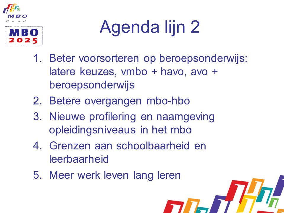 Agenda lijn 2 1.Beter voorsorteren op beroepsonderwijs: latere keuzes, vmbo + havo, avo + beroepsonderwijs 2.Betere overgangen mbo-hbo 3.Nieuwe profilering en naamgeving opleidingsniveaus in het mbo 4.Grenzen aan schoolbaarheid en leerbaarheid 5.Meer werk leven lang leren