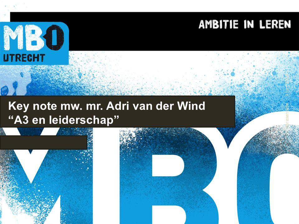 Key note mw. mr. Adri van der Wind A3 en leiderschap 3 juni 2013 Eindpresentatie 1