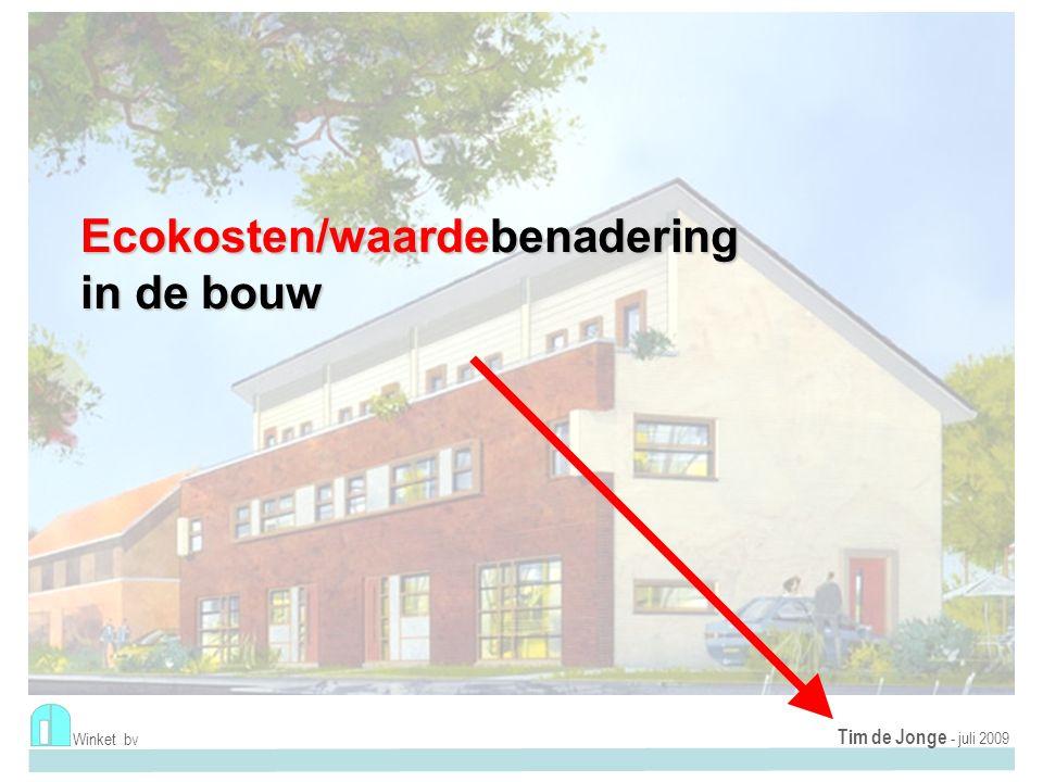 Levenscyclusbenadering Praktijkvoorbeeld: Proefproject Renovatie cf Passiefhuis-concept Roosendaal (Aramis AlleeWonen) Zeer goede isolatie Extreme kierdichting Beperkte installatie Winket bv Tim de Jonge - september 2009