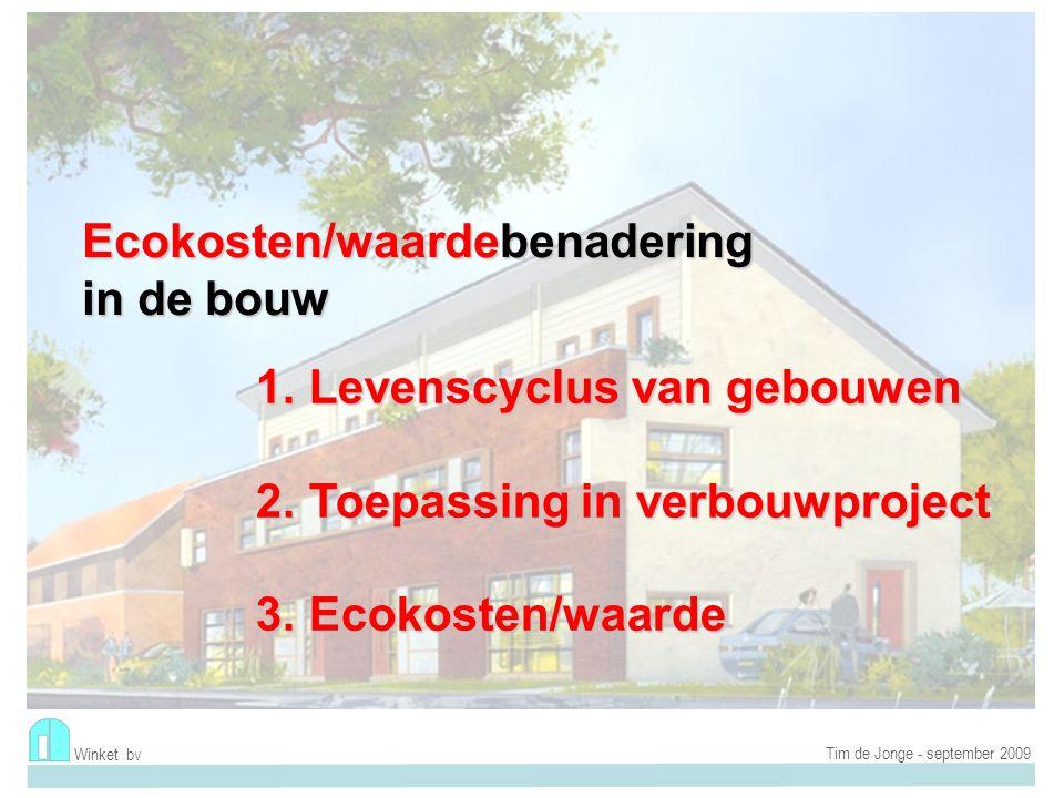 Winket bv Tim de Jonge - september 2009 Traditionele kosten Eco-kosten E/V-ratio