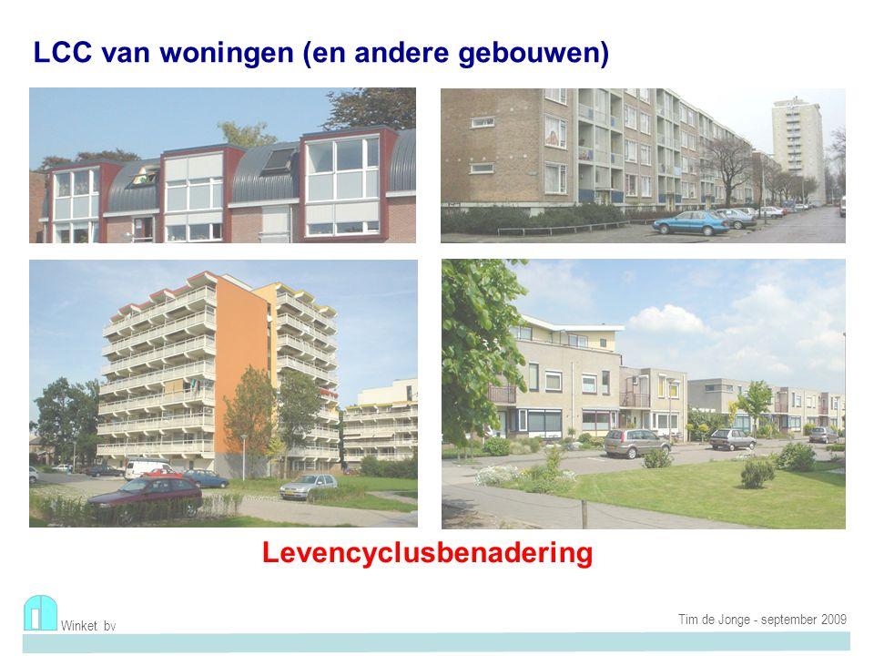 Levenscyclus woningen LCC passief renovatie Winket bv Ecokosten en LCC (EVR van wonen) Tim de Jonge - september 2009 45% of 28% RENOVEREN GEBRUIKSFASE MATERIALEN