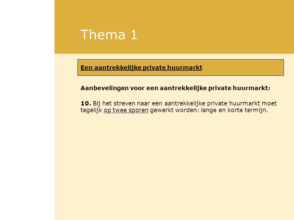 Thema 1 Een aantrekkelijke private huurmarkt Aanbevelingen voor een aantrekkelijke private huurmarkt: 10. Bij het streven naar een aantrekkelijke priv