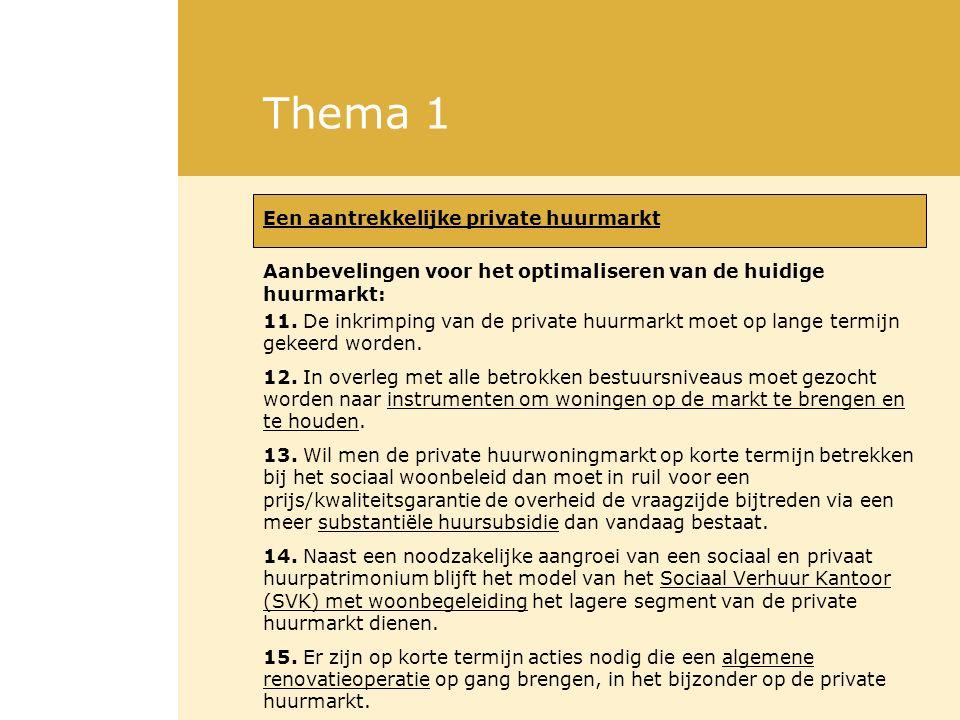 Thema 1 Een aantrekkelijke private huurmarkt Aanbevelingen voor het optimaliseren van de huidige huurmarkt: 11.