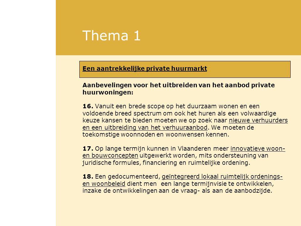 Thema 1 Een aantrekkelijke private huurmarkt Aanbevelingen voor het uitbreiden van het aanbod private huurwoningen: 16. Vanuit een brede scope op het