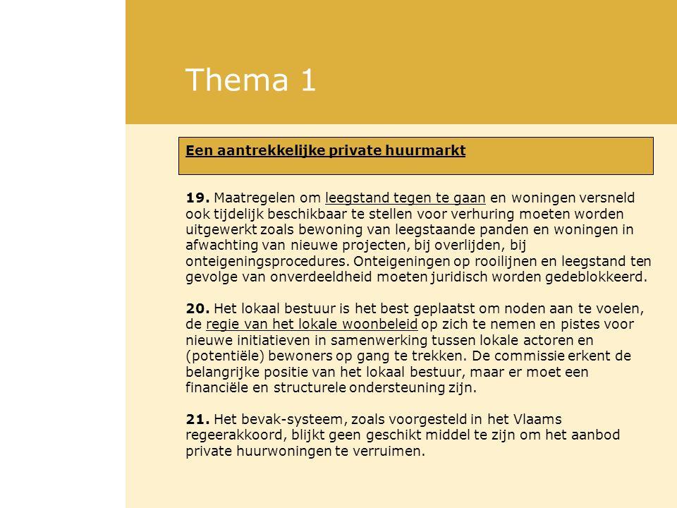 Thema 1 Een aantrekkelijke private huurmarkt 19. Maatregelen om leegstand tegen te gaan en woningen versneld ook tijdelijk beschikbaar te stellen voor