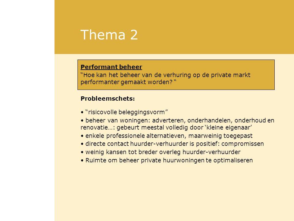 """Thema 2 Performant beheer """"Hoe kan het beheer van de verhuring op de private markt performanter gemaakt worden? """" Probleemschets: """"risicovolle beleggi"""