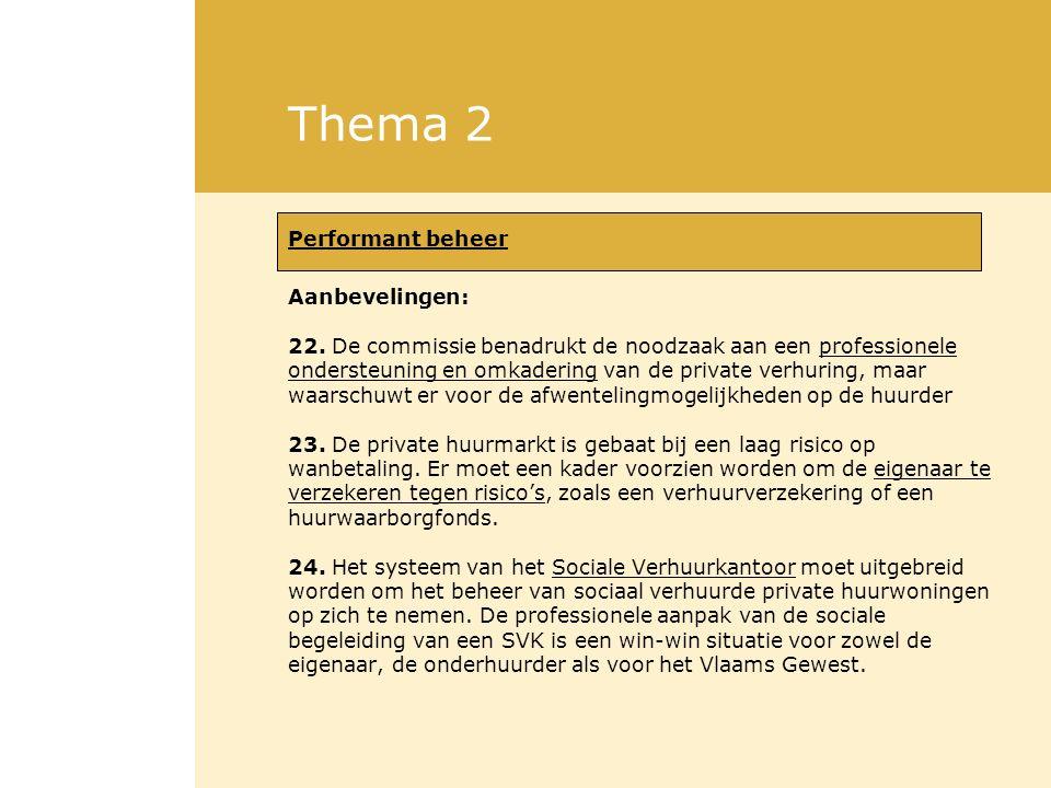 Thema 2 Performant beheer Aanbevelingen: 22. De commissie benadrukt de noodzaak aan een professionele ondersteuning en omkadering van de private verhu
