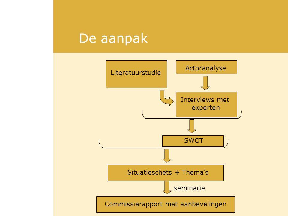 De aanpak Actoranalyse Literatuurstudie Interviews met experten SWOT Situatieschets + Thema's Commissierapport met aanbevelingen seminarie
