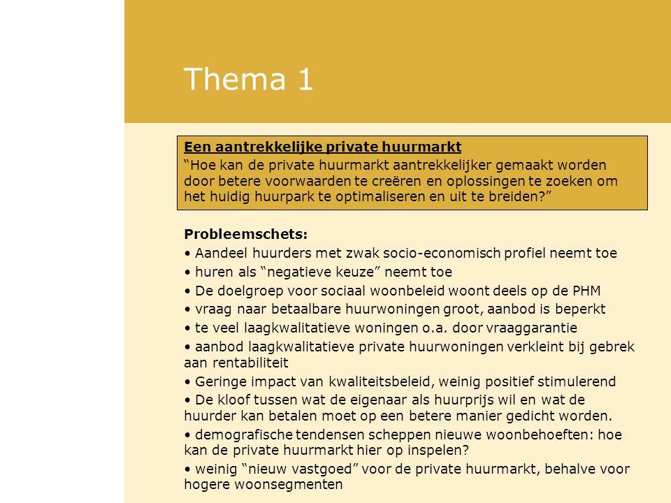 Thema 1 Een aantrekkelijke private huurmarkt Hoe kan de private huurmarkt aantrekkelijker gemaakt worden door betere voorwaarden te creëren en oplossingen te zoeken om het huidig huurpark te optimaliseren en uit te breiden? Probleemschets: Aandeel huurders met zwak socio-economisch profiel neemt toe huren als negatieve keuze neemt toe De doelgroep voor sociaal woonbeleid woont deels op de PHM vraag naar betaalbare huurwoningen groot, aanbod is beperkt te veel laagkwalitatieve woningen o.a.