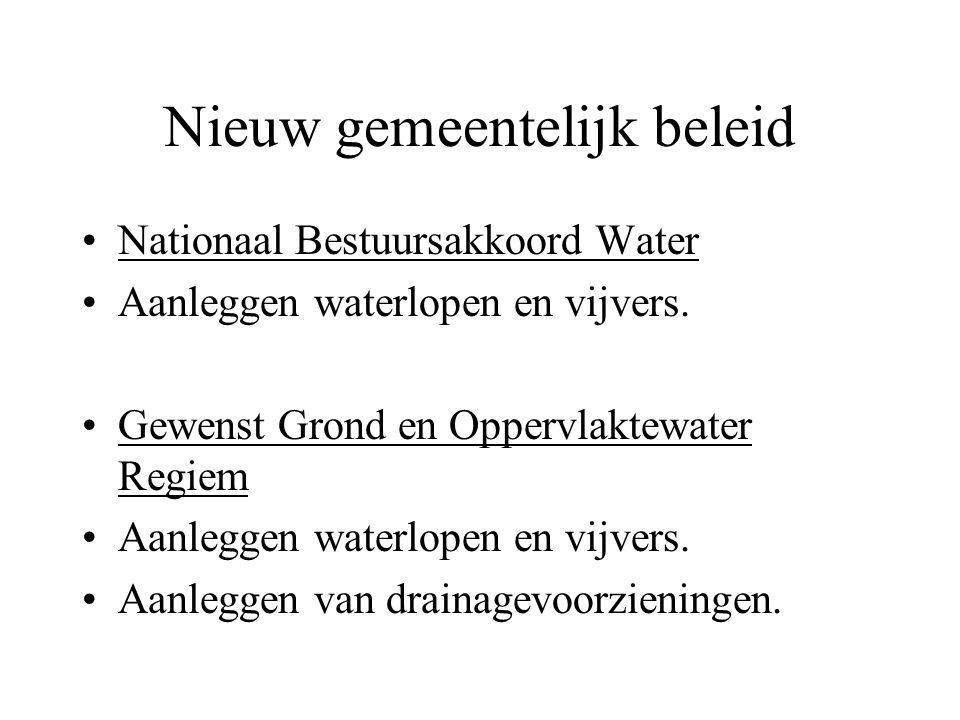 Nieuw gemeentelijk beleid Nationaal Bestuursakkoord Water Aanleggen waterlopen en vijvers. Gewenst Grond en Oppervlaktewater Regiem Aanleggen waterlop