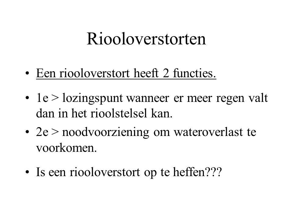 Riooloverstorten Een riooloverstort heeft 2 functies. 1e > lozingspunt wanneer er meer regen valt dan in het rioolstelsel kan. 2e > noodvoorziening om