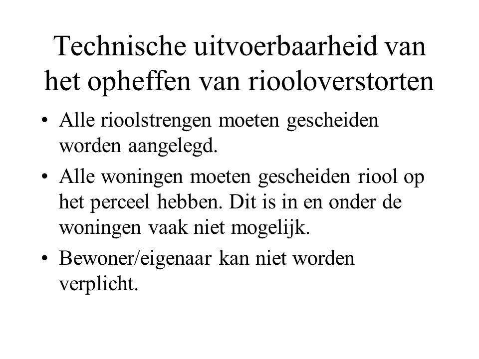 Technische uitvoerbaarheid van het opheffen van riooloverstorten Alle rioolstrengen moeten gescheiden worden aangelegd.