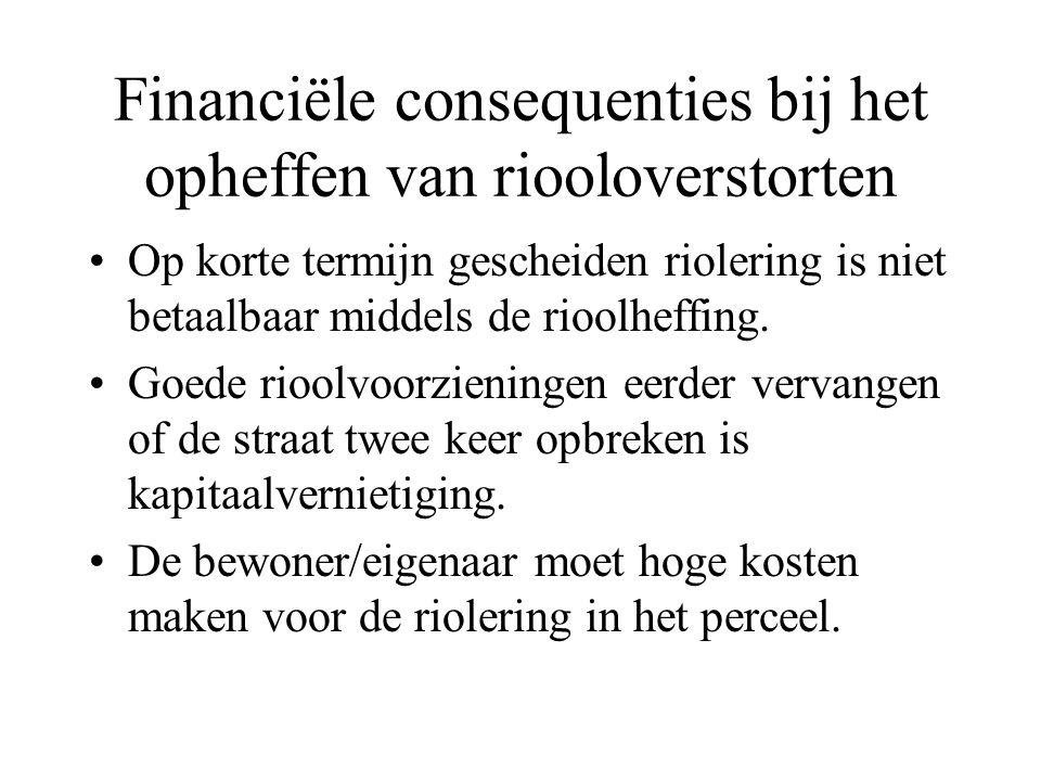 Financiële consequenties bij het opheffen van riooloverstorten Op korte termijn gescheiden riolering is niet betaalbaar middels de rioolheffing. Goede
