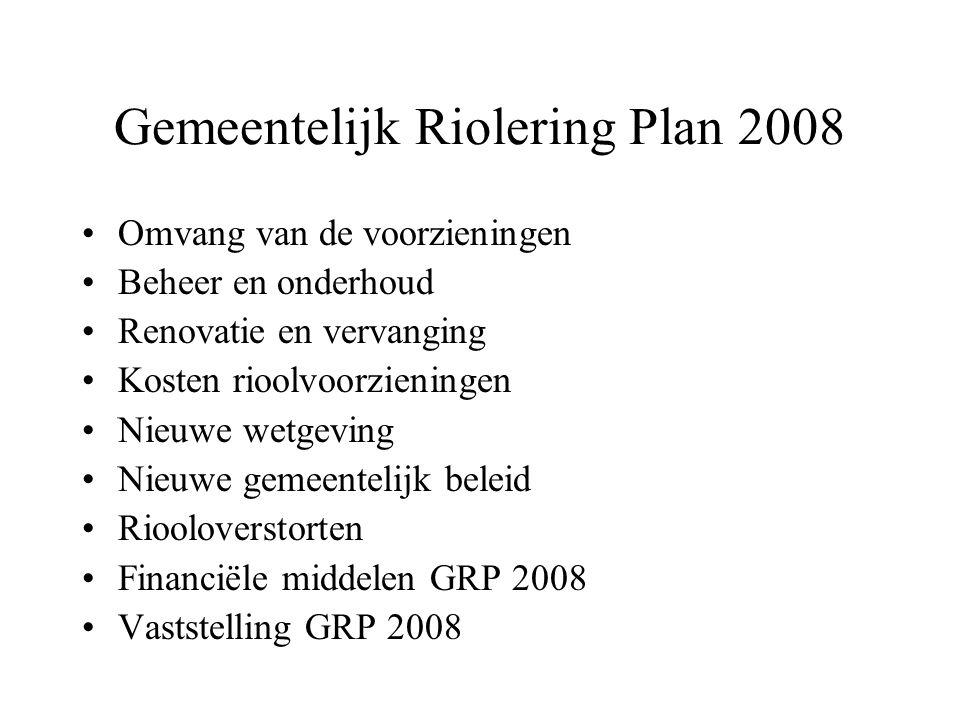 Gemeentelijk Riolering Plan 2008 Omvang van de voorzieningen Beheer en onderhoud Renovatie en vervanging Kosten rioolvoorzieningen Nieuwe wetgeving Ni