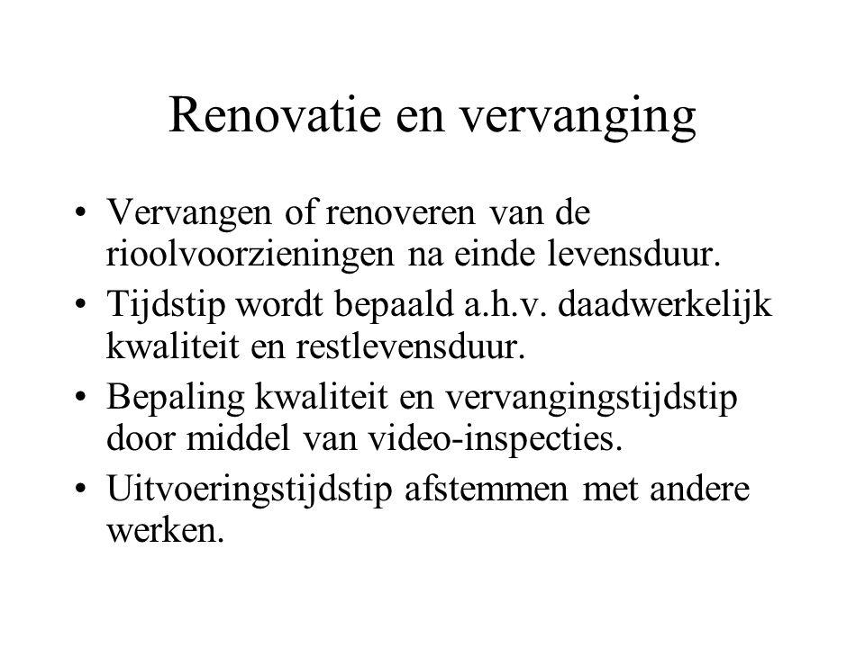 Renovatie en vervanging Vervangen of renoveren van de rioolvoorzieningen na einde levensduur.