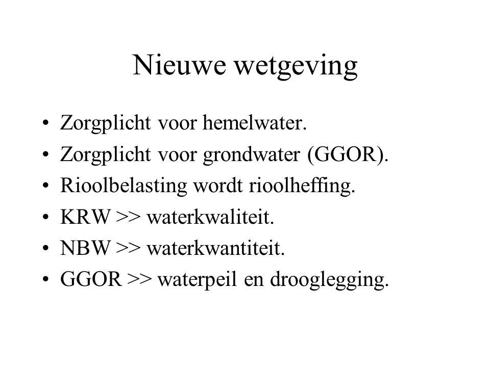 Nieuwe wetgeving Zorgplicht voor hemelwater. Zorgplicht voor grondwater (GGOR). Rioolbelasting wordt rioolheffing. KRW >> waterkwaliteit. NBW >> water
