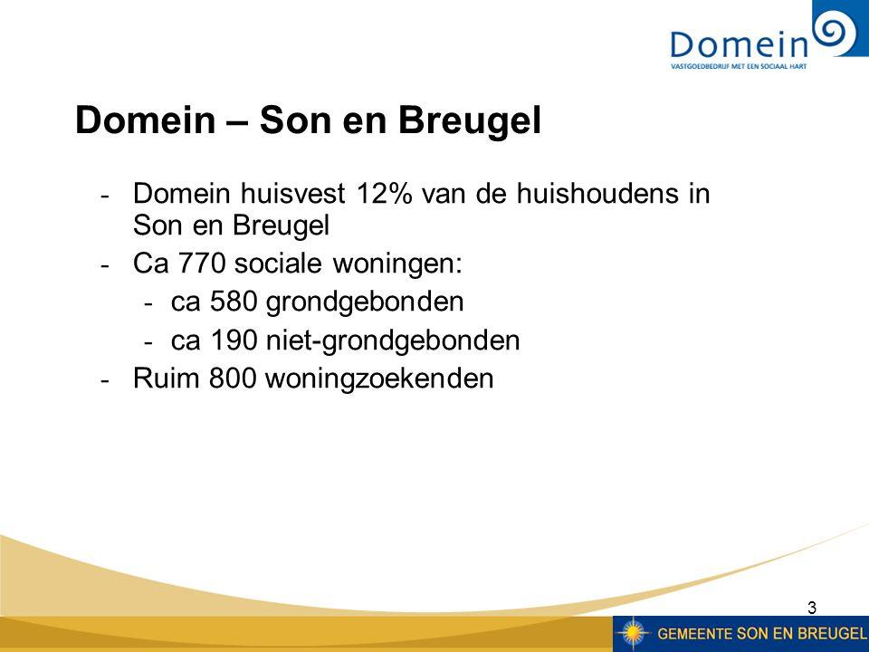 3  Domein huisvest 12% van de huishoudens in Son en Breugel  Ca 770 sociale woningen:  ca 580 grondgebonden  ca 190 niet-grondgebonden  Ruim 800 woningzoekenden Domein – Son en Breugel