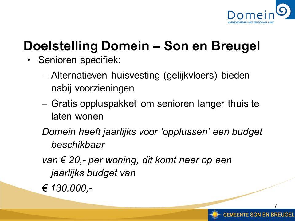 8 Seniorenwoningen in bezit van Domein: –Gentiaan (7) –Kom Breugel (17) –Kom Son (62) –'t Zand (42) Semi-bungalows, benedenwoningen en appartementen met liften Domein – Son en Breugel