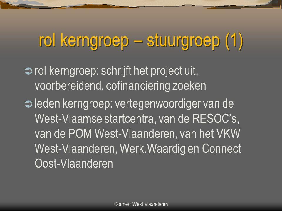 rol kerngroep – stuurgroep (1)  rol kerngroep: schrijft het project uit, voorbereidend, cofinanciering zoeken  leden kerngroep: vertegenwoordiger van de West-Vlaamse startcentra, van de RESOC's, van de POM West-Vlaanderen, van het VKW West-Vlaanderen, Werk.Waardig en Connect Oost-Vlaanderen