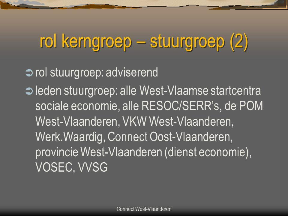 Connect West-Vlaanderen rol kerngroep – stuurgroep (2)  rol stuurgroep: adviserend  leden stuurgroep: alle West-Vlaamse startcentra sociale economie, alle RESOC/SERR's, de POM West-Vlaanderen, VKW West-Vlaanderen, Werk.Waardig, Connect Oost-Vlaanderen, provincie West-Vlaanderen (dienst economie), VOSEC, VVSG