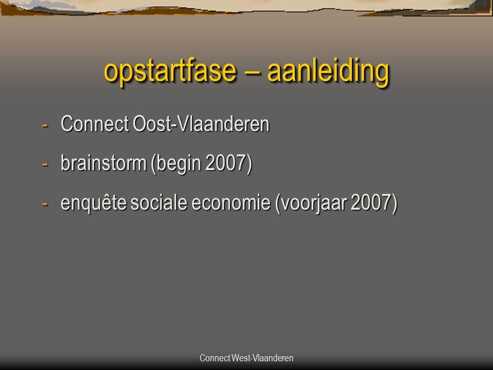 Connect West-Vlaanderen opstartfase – aanleiding - Connect Oost-Vlaanderen - brainstorm (begin 2007) - enquête sociale economie (voorjaar 2007)