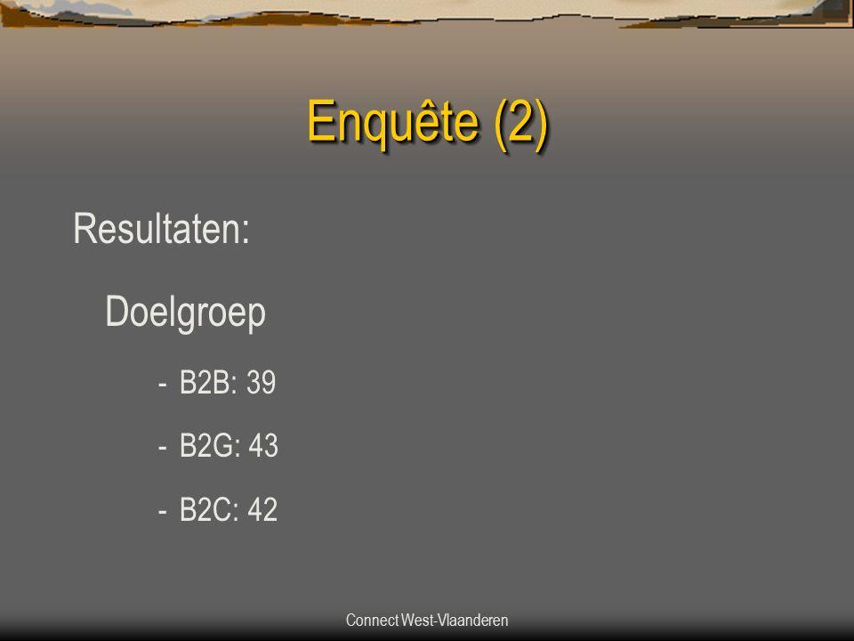 Connect West-Vlaanderen Enquête (2) Resultaten: Doelgroep -B2B: 39 -B2G: 43 -B2C: 42